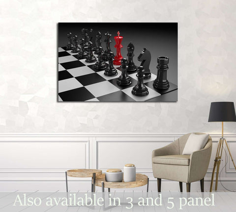3D illustration of different chess figures and chess scenes №3235 Ready to Hang Canvas Print