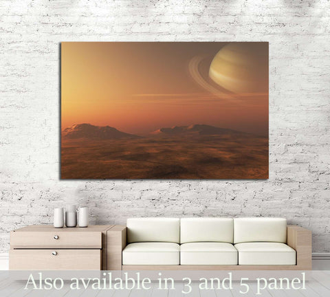 A 3D illustration of a gas giant Planet (Saturn), from a nearby planet or moon №2432 Ready to Hang Canvas Print