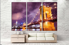 A beautiful aged bridge by the Cincinnati skyline №1673 Ready to Hang Canvas Print