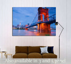 A beautiful aged bridge by the Cincinnati skyline №2240 Ready to Hang Canvas Print