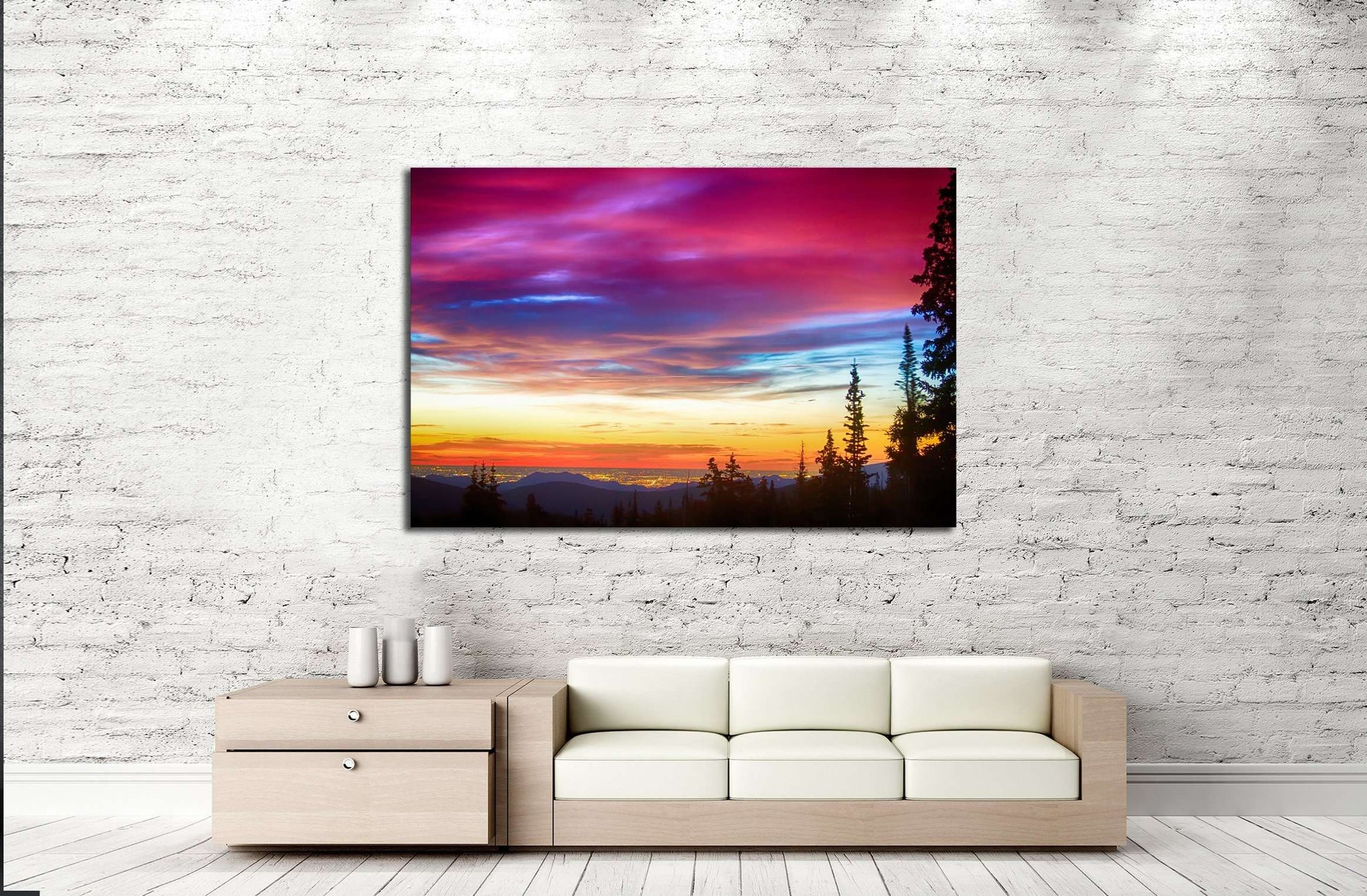 A beautiful colorful epic sunrise over the city lights of Boulder Colorado №2699 Ready to Hang Canvas Print