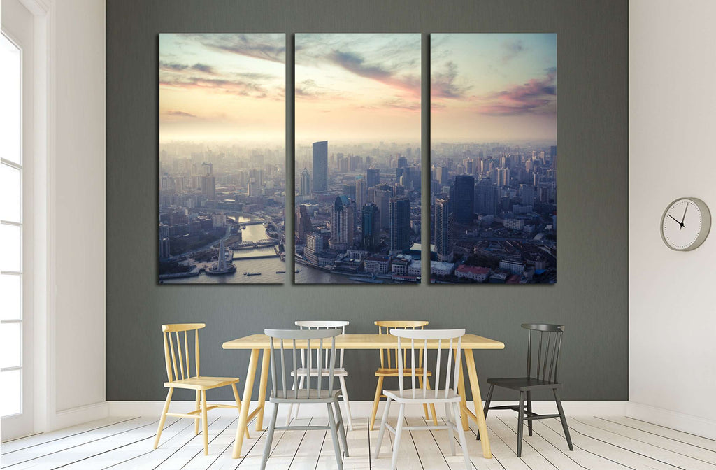 a bird's eye view of shanghai at dusk №2246 Ready to Hang Canvas Print