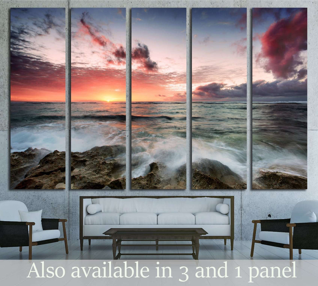 A cloudy sunset as waves crash over rocks №2823 Ready to Hang Canvas Print
