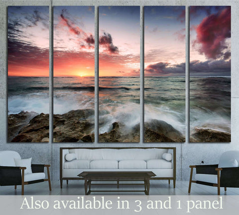 A cloudy sunset as waves crash over rocks ?2823 Ready to Hang Canvas Print & Landscape Wall Art at Zellart Canvas Arts