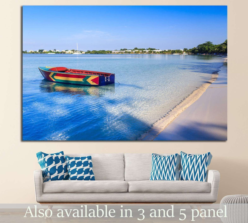 A colorful Jamaican boat floating along the shores of Bloody Bay, Negril №1413 - canvas print wall art by Zellart