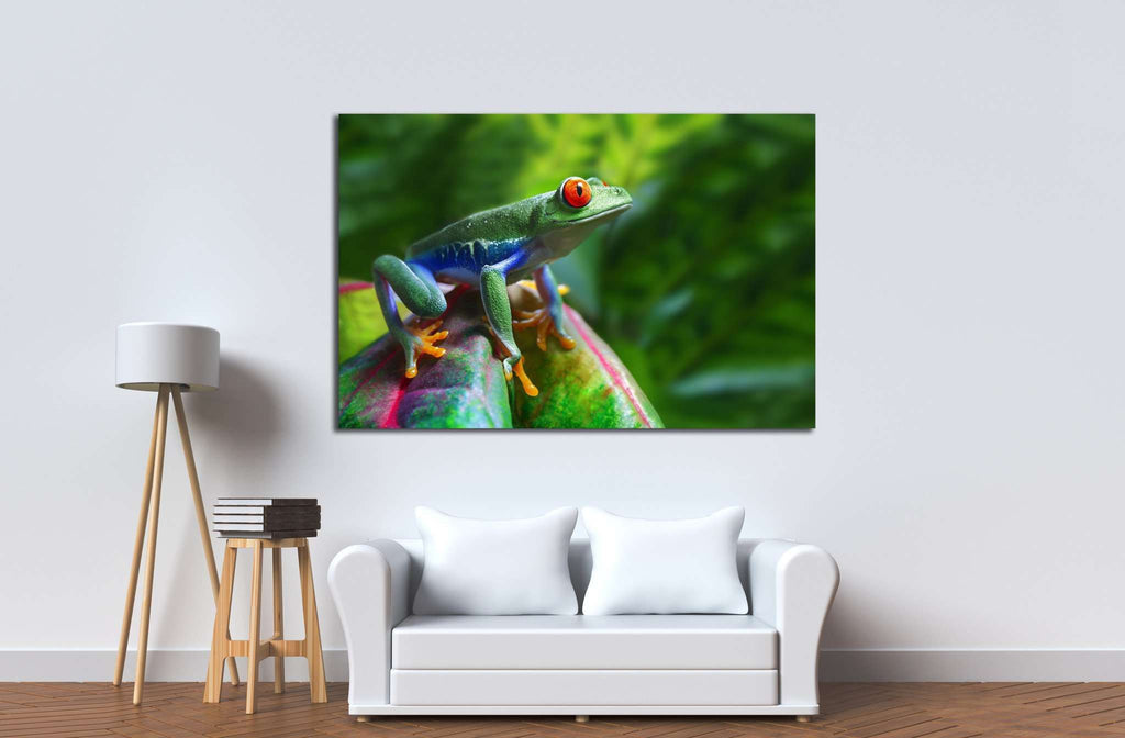 A colorful Red-Eyed Tree Frog in its tropical setting №1840 Ready to Hang Canvas Print