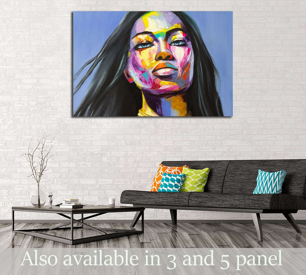 A fantasy woman portrait from colorful emotions series. Oil painting on canvas. №2760 Ready to Hang Canvas Print