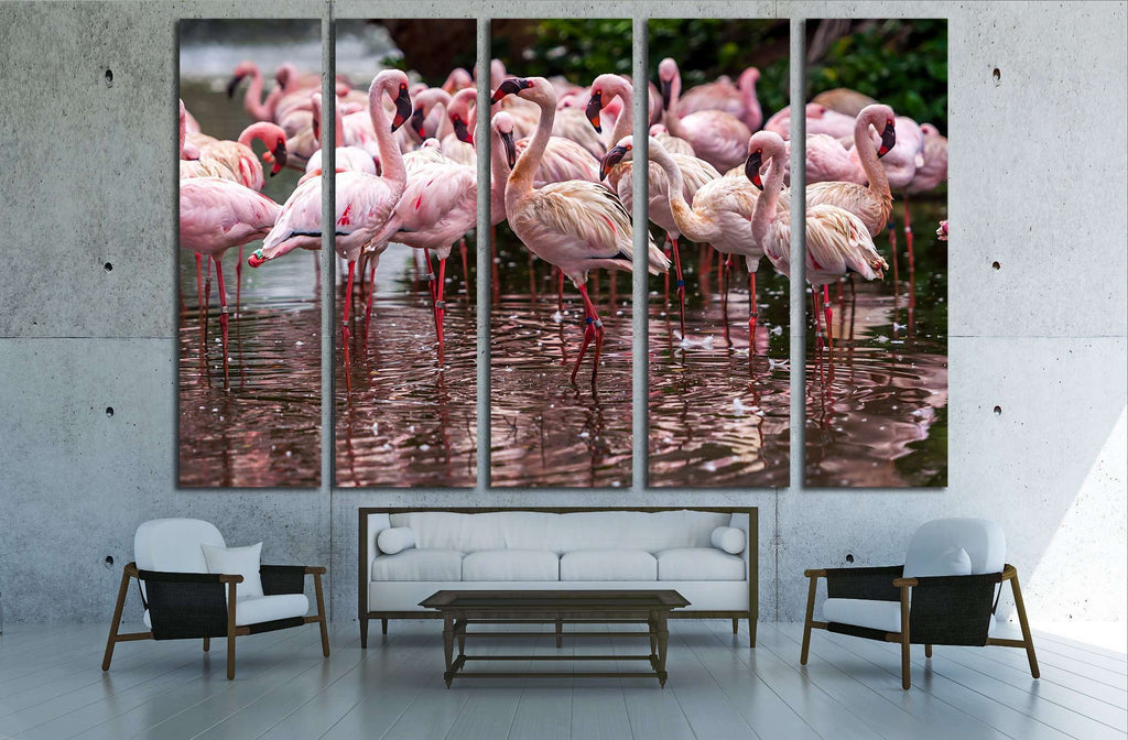 A flock of pink flamingos and reflection in the water №2795 Ready to Hang Canvas Print