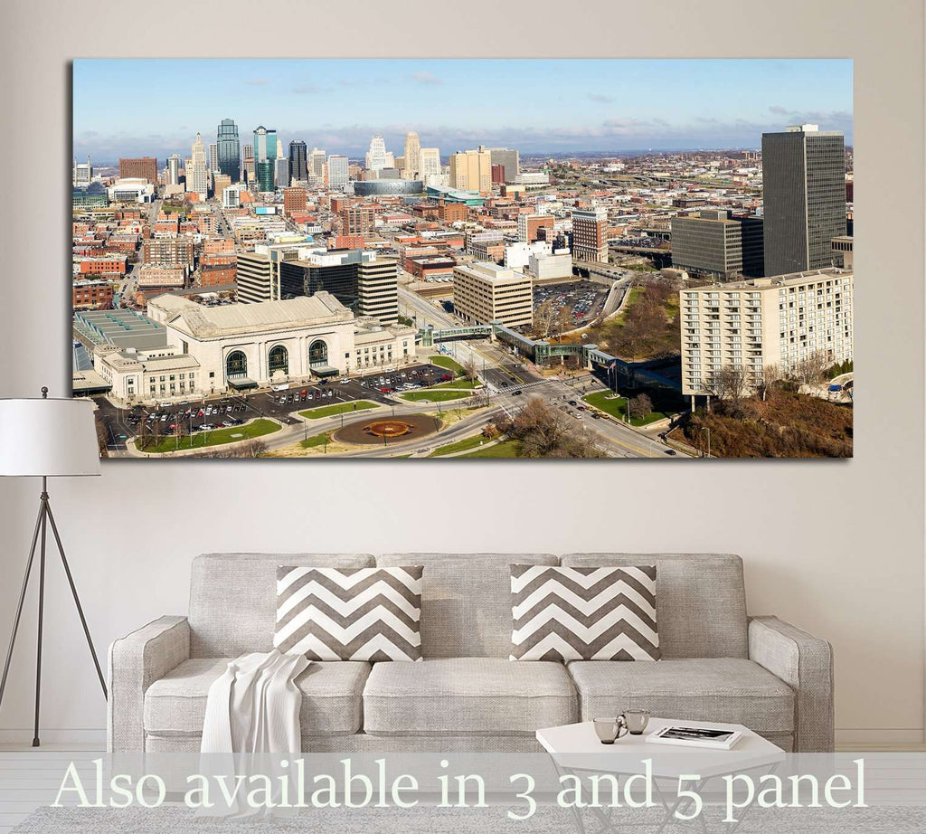 A large panoramic view of Kansas City, Missouri during the daytime №1642 Ready to Hang Canvas Print