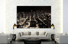 A night shot of the city of Seattle, US №1368 - canvas print wall art by Zellart