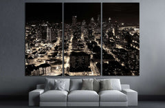 A night shot of the city of Seattle, US №1368 Ready to Hang Canvas Print