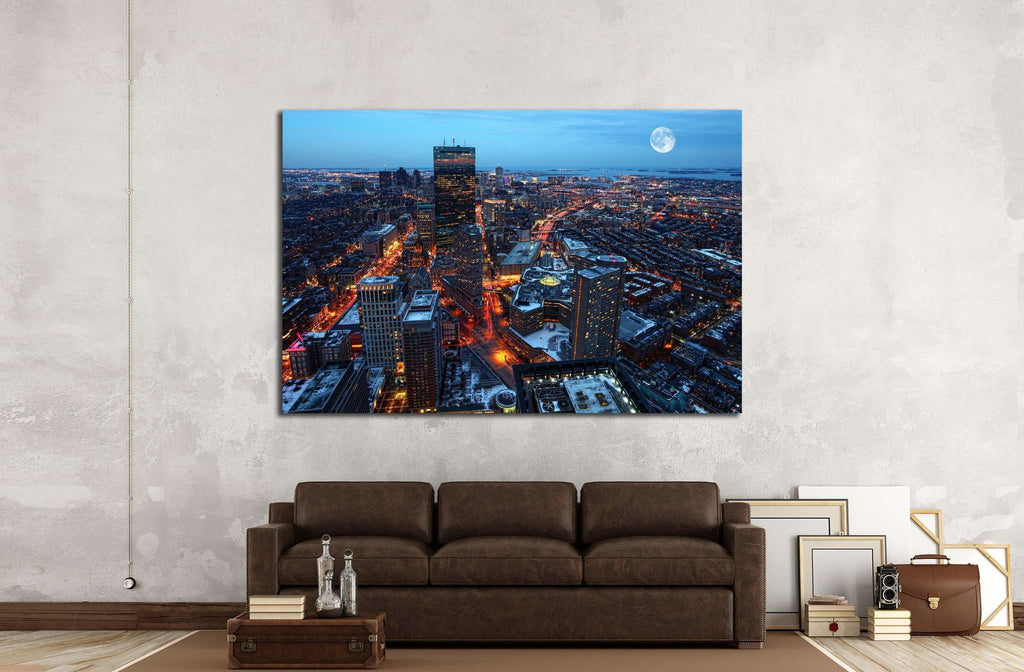 A Rising moon over the city of Boston №1442 Framed Canvas Print