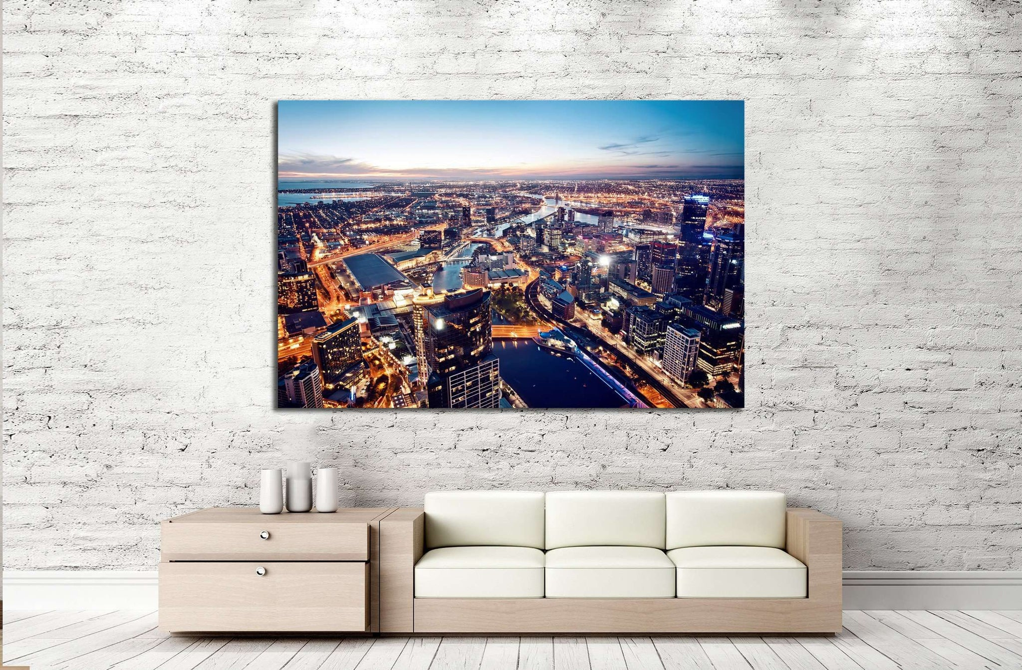 A view of Melbourne at night, Victoria, Australia №2264 Ready to Hang Canvas Print