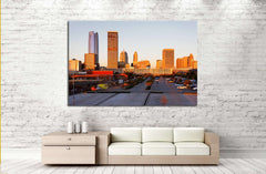A view of the skyline of Oklahoma City at sunrise. №2636 Ready to Hang Canvas Print