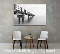 Abandoned Jetty, Long Exposure Black And White №3173 Ready to Hang Canvas Print