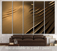 Abstract 3D background with golden wavy stripes №2885 Ready to Hang Canvas Print