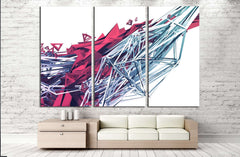 Abstract 3d rendering of chaotic plexus surface. №2559 Ready to Hang Canvas Print