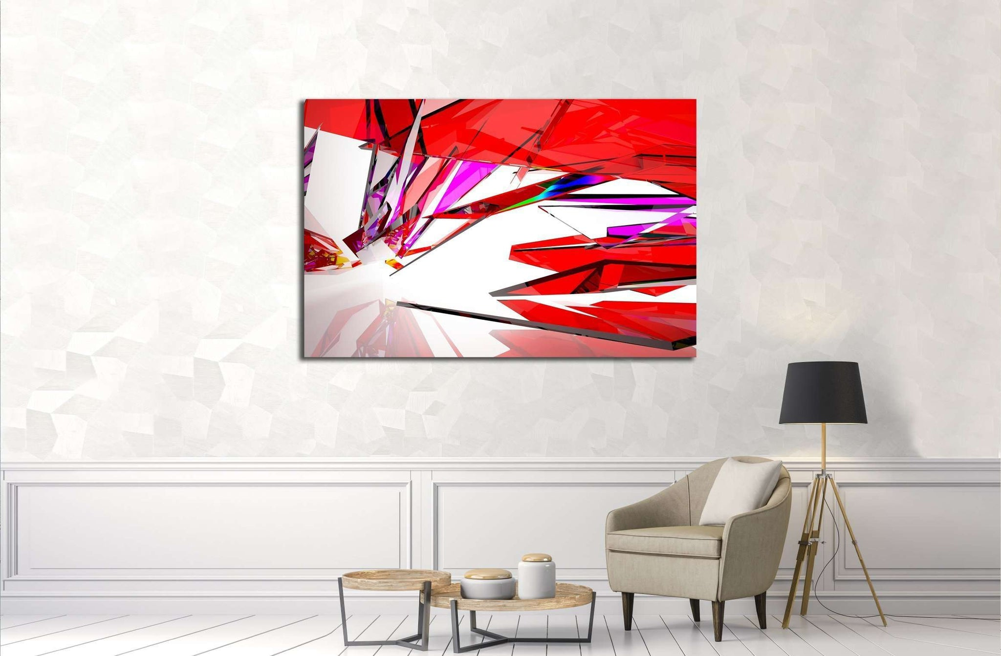 abstract architectural interior with gradient geometric glass sculpture with black lines №2568 Ready to Hang Canvas Print