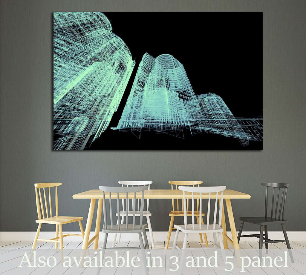Abstract architecture 3D illustration №1579 - canvas print wall art by Zellart