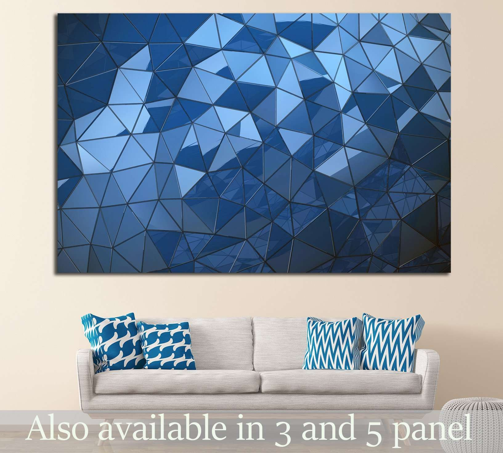 Abstract Blue polygon background №1607 - canvas print wall art by Zellart
