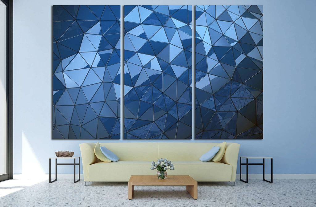 Abstract Blue polygon background №1607 Ready to Hang Canvas Print