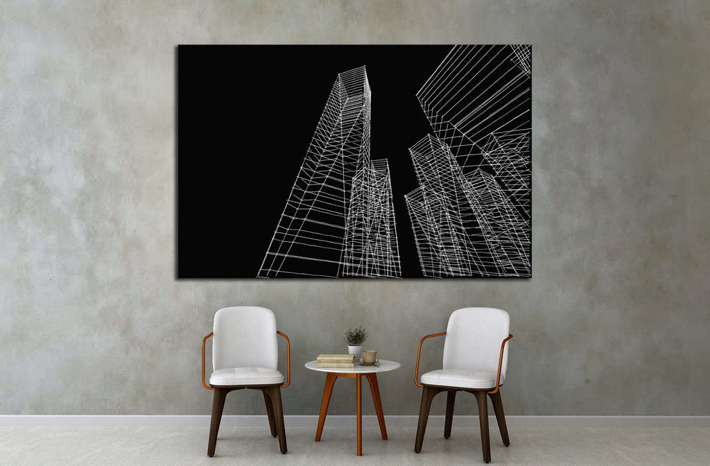 abstract city buildings sketch №1580 Ready to Hang Canvas Print
