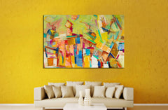 Abstract colorful oil painting on canvas №2533 Framed Canvas Print