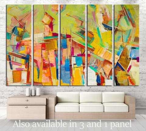 Abstract colorful oil painting on canvas №2533 Ready to Hang Canvas Print
