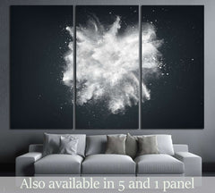 Abstract design of white powder cloud against dark background №2544 Ready to Hang Canvas Print