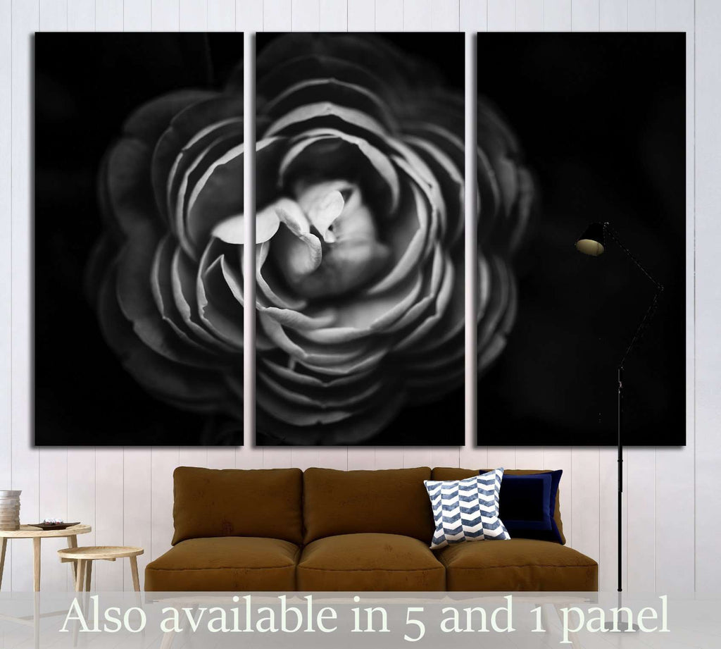Abstract flowers black and white background №1589 Ready to Hang Canvas Print