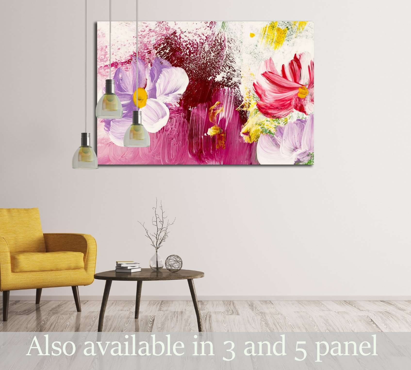 Abstract flowers, close-up fragment of acrylic painting on canvas №3018 Ready to Hang Canvas Print