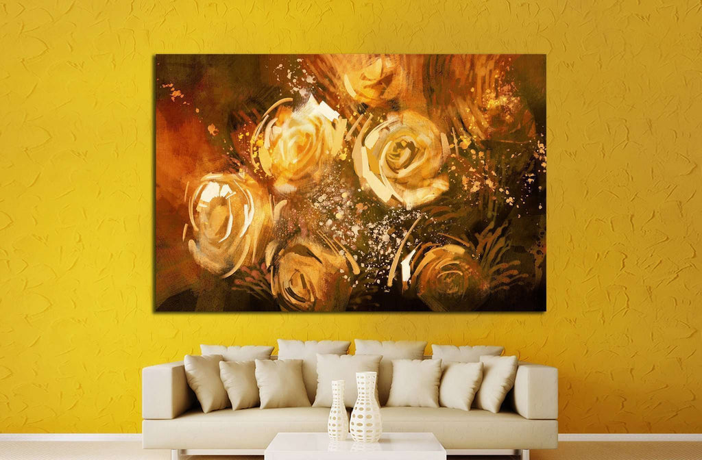 abstract flowers vintage style №1345 - canvas print wall art by Zellart