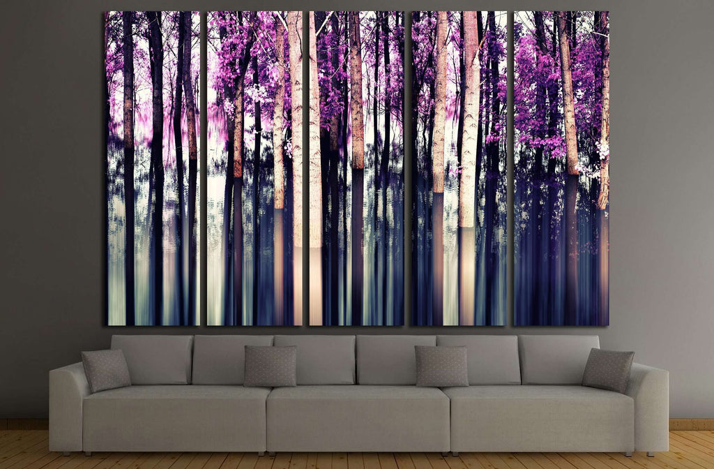 abstract forest in motion blur ,abstract colorful background №2537 Ready to Hang Canvas Print