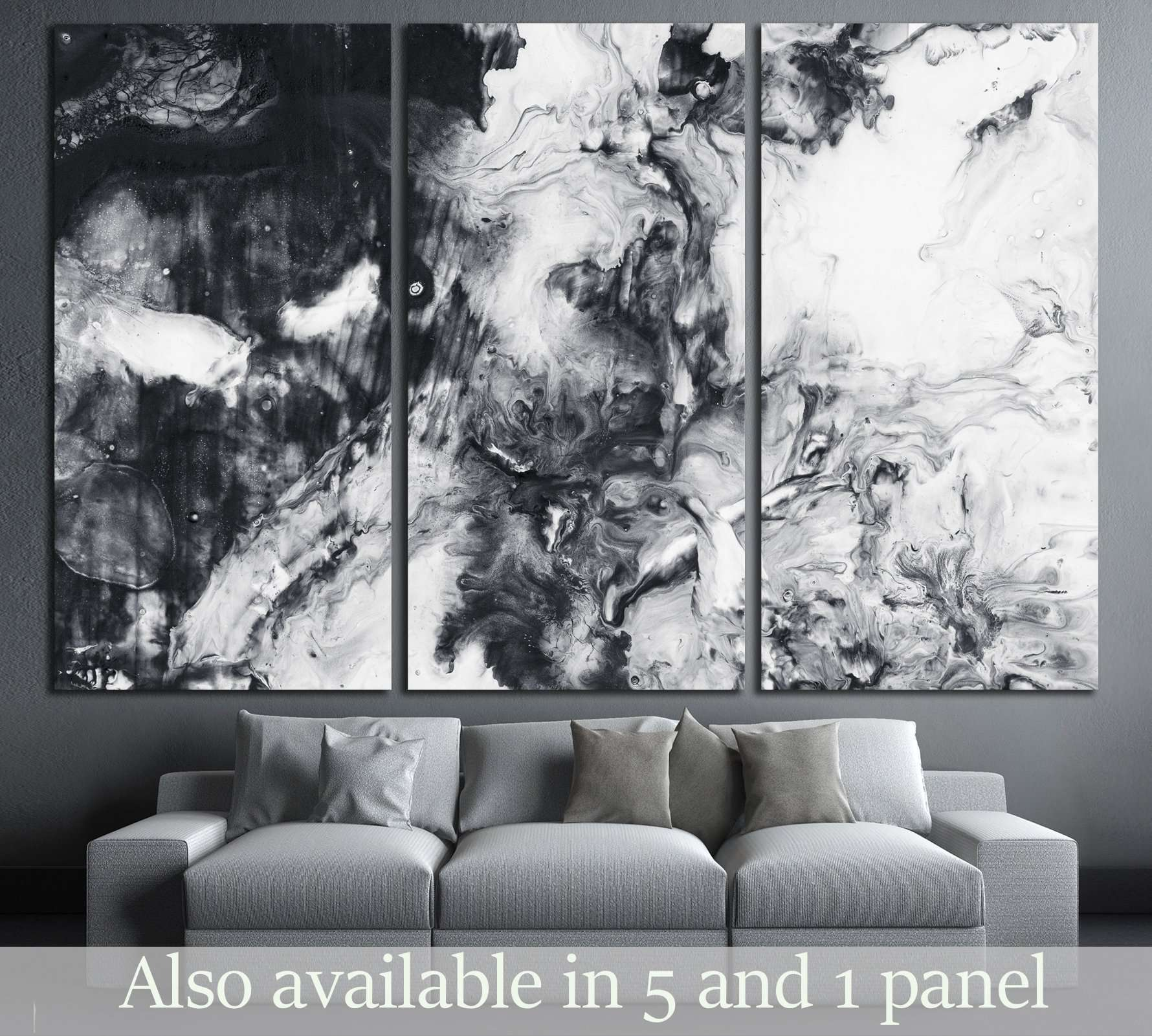Abstract hand painted black and white background acrylic painting on zellart