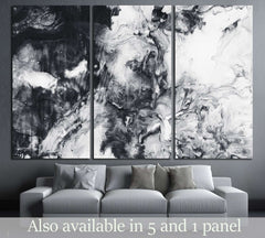 Abstract hand painted black and white background, acrylic painting on canvas, wallpaper, texture №2565 Ready to Hang Canvas Print