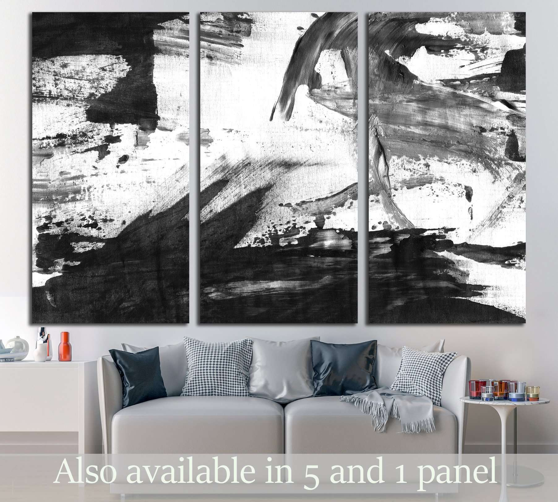Black white wall art zellart