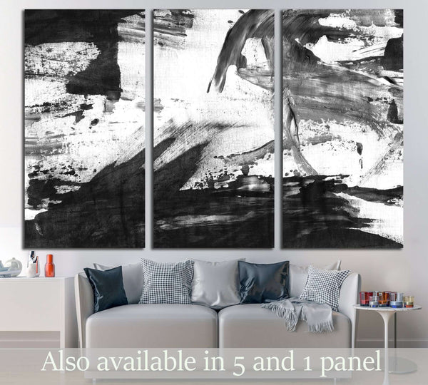 Abstract ink background. Marble style. Black and white paint stroke texture №3016 Ready to Hang Canvas Print