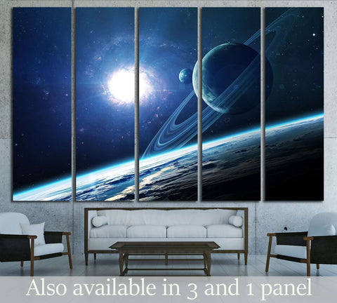 Abstract scientific background - planets in space, nebula and stars №2433 Ready to Hang Canvas Print