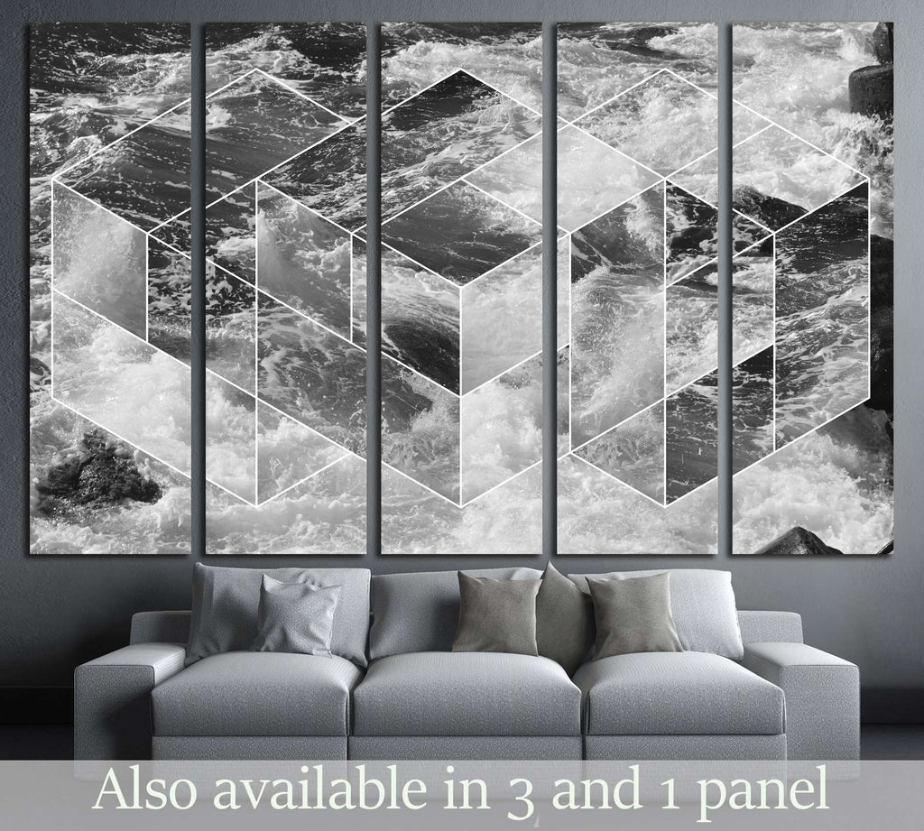 abstract sea geometric background, water waves. black and white №2540 Ready to Hang Canvas Print