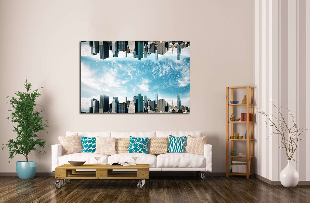 Abstract upside down cityscape on sky background. Wallpaperbackdrop with copy space №2970 Ready to Hang Canvas Print