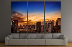 abstract urban skyline cityscape on twilight time №2720 Ready to Hang Canvas Print