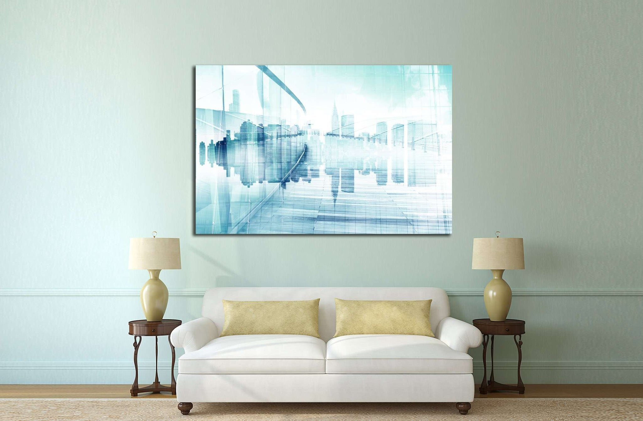 Abstract View of Urban Scene and Skyscrapers №2545 Ready to Hang Canvas Print