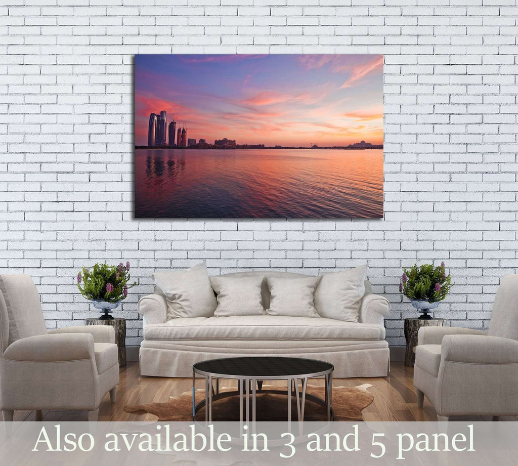 Abu Dhabi skyline at the sunset №2964 Ready to Hang Canvas Print