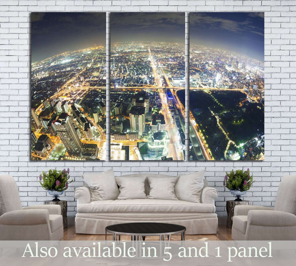 Aerial fisheye view of buildings in Osaka in Japan at night №2658 Ready to Hang Canvas Print
