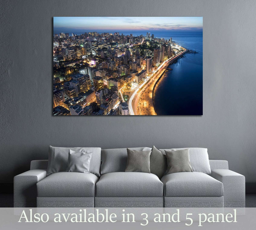 Aerial night shot of Beirut Lebanon , City of Beirut, Beirut city scape №2960 Ready to Hang Canvas Print