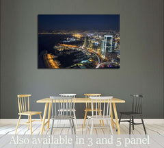 Aerial night shot of Beirut Lebanon , City of Beirut, Beirut city scape №2961 Ready to Hang Canvas Print