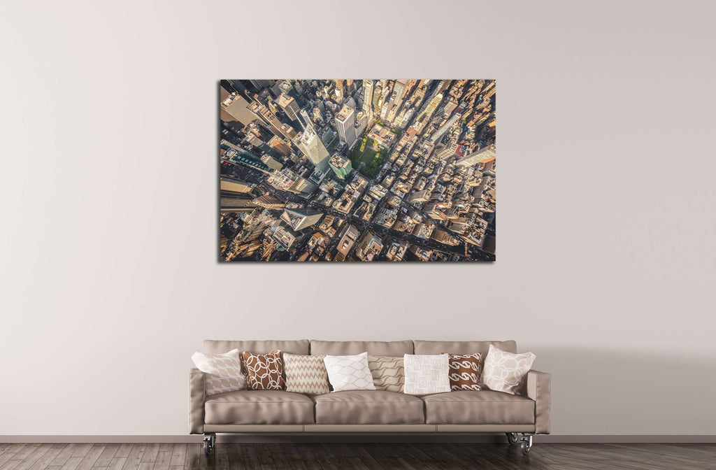 Aerial photograph taken from a helicopter in New York City, New York, USA №2219 Ready to Hang Canvas Print