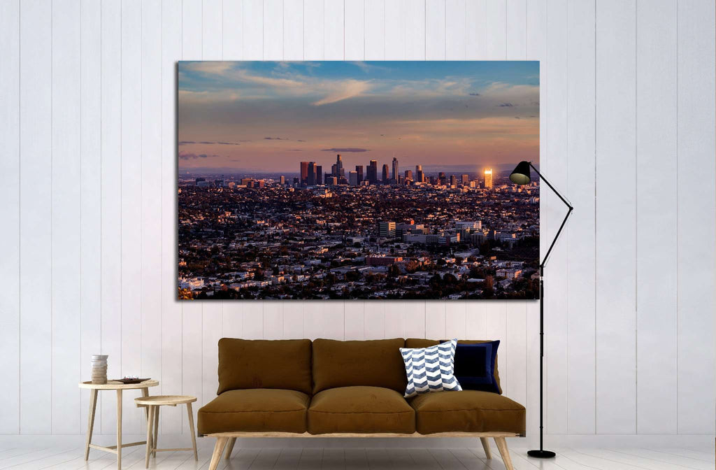 aerial view, downtown Los Angeles №1558 - canvas print wall art by Zellart