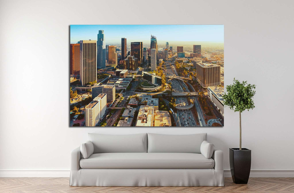 Aerial view of a Downtown Los Angeles at sunset №1253 - canvas print wall art by Zellart