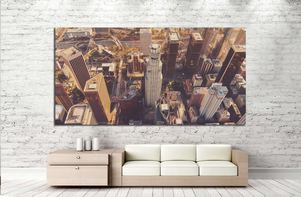 Aerial view of a Downtown Los Angeles at sunset №1271 Ready to Hang Canvas Print